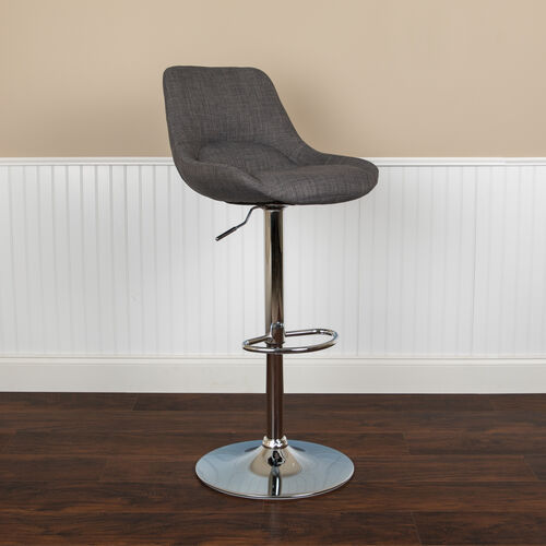 Our Contemporary Dark Gray Fabric Adjustable Height Barstool with Chrome Base is on sale now.