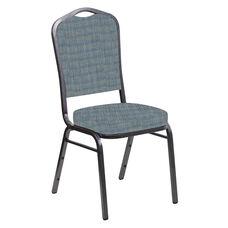 Embroidered Crown Back Banquet Chair in Sammie Joe Ocean Fabric - Silver Vein Frame