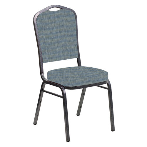 Our Embroidered Crown Back Banquet Chair in Sammie Joe Ocean Fabric - Silver Vein Frame is on sale now.