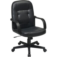 Work Smart Mid Back Eco Leather Managers Office Chair - Black