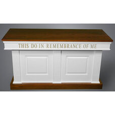 Red Oak Colonial Finish Closed Communion Table with Raised Bevel Front Panels