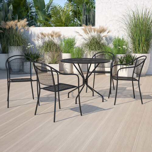 "Commercial Grade 35.25"" Round Indoor-Outdoor Steel Patio Table Set with 4 Round Back Chairs"