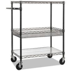 Alera® Three-Tier Wire Rolling Cart - 34w x 18d x 40h - Black Anthracite