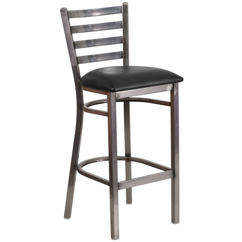Our Clear Coated Ladder Back Metal Restaurant Barstool with Black Vinyl Seat is on sale now.