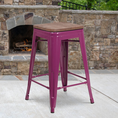 "24"" High Backless Purple Counter Height Stool with Square Wood Seat"