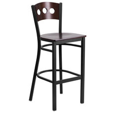 Black Decorative 3 Circle Back Metal Restaurant Barstool with Walnut Wood Back & Seat