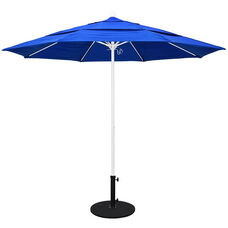 11 Ft. Market Umbrella with Pulley Lift and Double Wind Vent - White Aluminum Pole