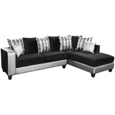 Riverstone Implosion Black Velvet Sectional with Black & Shimmer Steel Frame