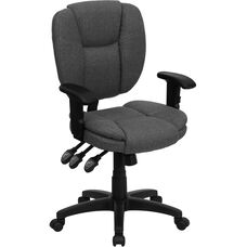 Mid-Back Gray Fabric Multifunction Swivel Ergonomic Task Office Chair with Pillow Top Cushioning and Arms