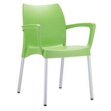 Domenica Lightweight Stackable Arm Chair with Aluminum Legs - Green