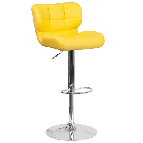 Our Contemporary Tufted Yellow Vinyl Adjustable Height Barstool with Chrome Base is on sale now.