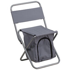 Folding Camping Chair with Insulated Storage in Gray