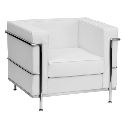 Our HERCULES Regal Series Contemporary Melrose White Leather Chair with Encasing Frame is on sale now.