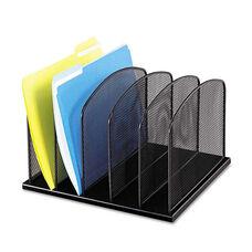 Safco® Mesh Desk Organizer - Five Sections - Steel - 12 1/2 x 11 1/4 x 8 1/4 - Black