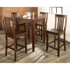 5 Piece Pub Dining Set with Tapered Leg and School House Stools - Vintage Mahogany Finish
