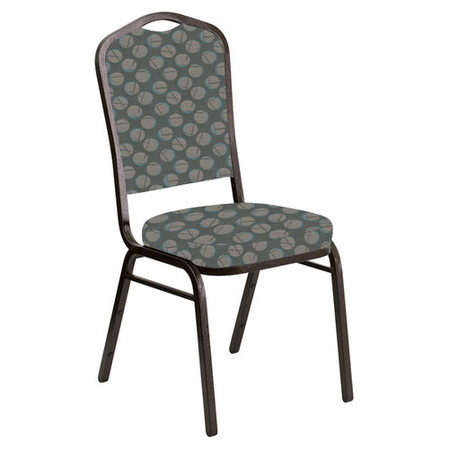 Our Embroidered Crown Back Banquet Chair in Cirque Olive Fabric - Gold Vein Frame is on sale now.