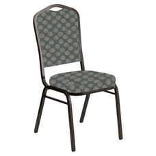 Embroidered Crown Back Banquet Chair in Cirque Olive Fabric - Gold Vein Frame