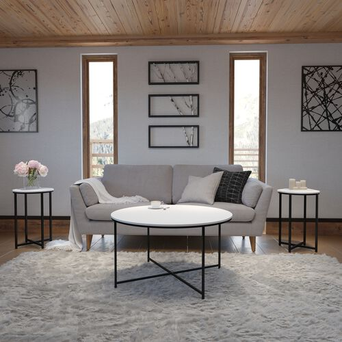 Hampstead Collection 3 Piece White Coffee and End Table Set with Matte Black Frame
