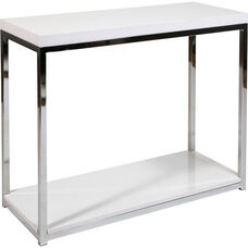 Ave Six Wall Street Wood Veneer Foyer Table with Chrome Finished Steel Base - White