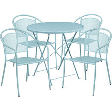 """Commercial Grade 30"""" Round Sky Blue Indoor-Outdoor Steel Folding Patio Table Set with 4 Round Back Chairs"""