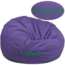 Personalized Oversized Solid Purple Bean Bag Chair for Kids and Adults