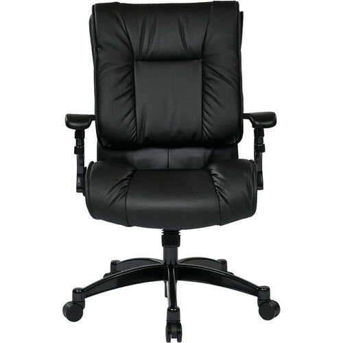 Space Black Eco Leather Conference Chair with Cantilever Arms and Pillow Top Seat and Back - Black
