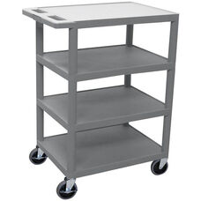 4 Flat Shelf Mobile Structural Foam Plastic Utility Cart - Gray - 24