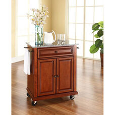 Solid Granite Top Portable Kitchen Island with Casters - Classic Cherry Finish