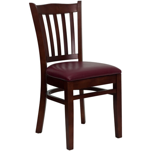 Our Mahogany Finished Vertical Slat Back Wooden Restaurant Chair with Burgundy Vinyl Seat is on sale now.