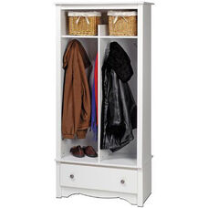 Monterey Entryway Organizer with 5 Storage Compartments and 4 Coat Hooks - White