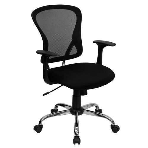 Mid-Back Mesh Swivel Task Chair with Chrome Base and Arms