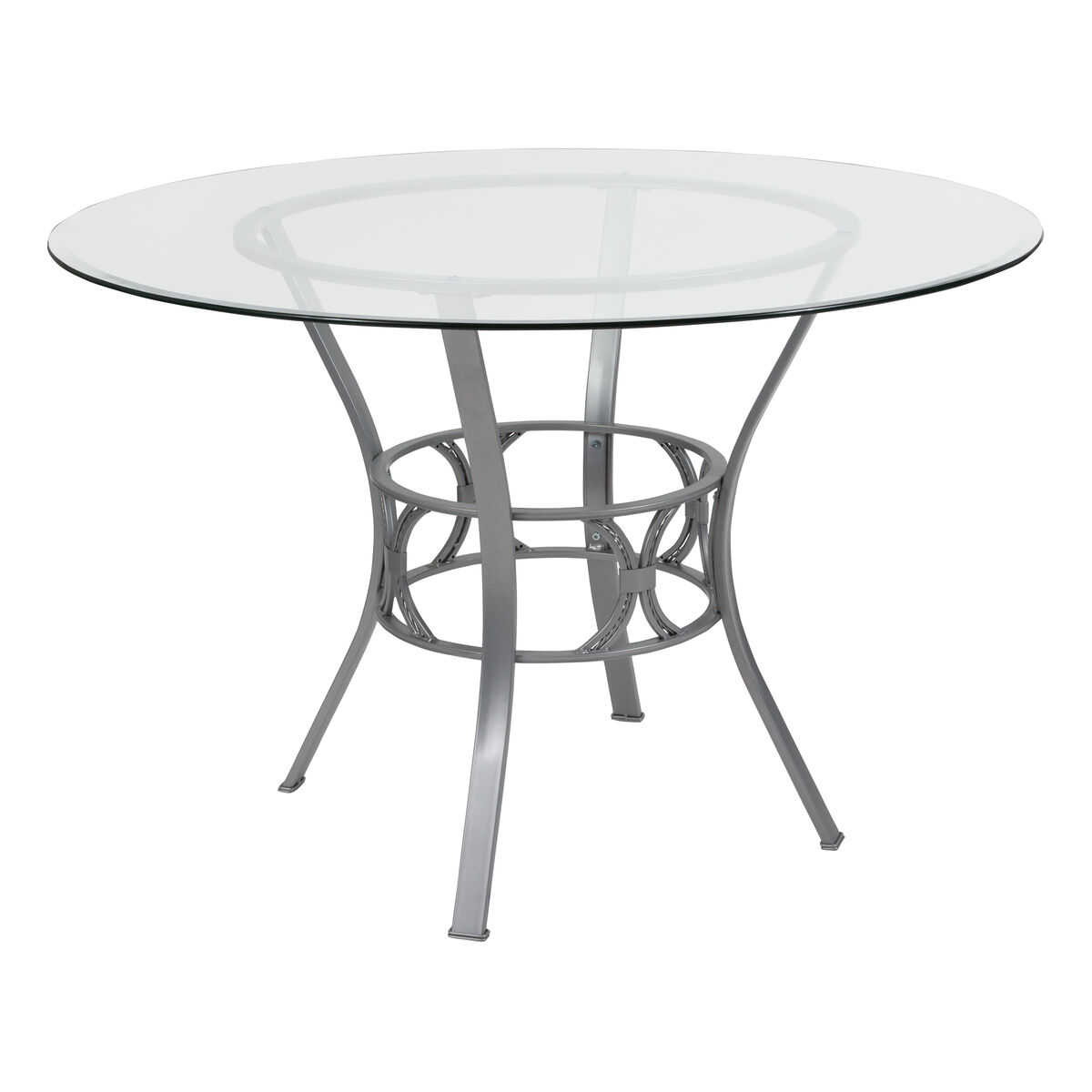 Our Carlisle 45 Round Glass Dining Table With Silver Metal Frame Is On