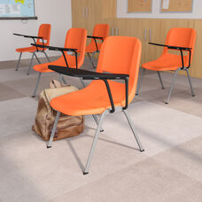 Orange Ergonomic Shell Chair with Left Handed Flip-Up Tablet Arm
