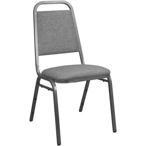 Advantage Charcoal Gray Fabric-Padded Banquet Stackable Chairs