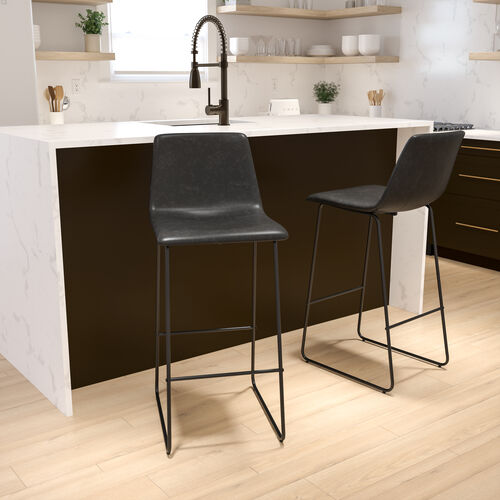 30 inch LeatherSoft Bar Height Barstools in Gray, Set of 2