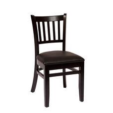 Delran Black Wood Slat Back Chair - Vinyl Seat