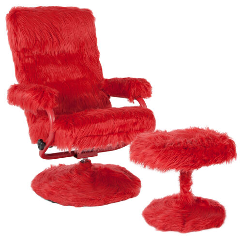 Our East Side Contemporary Multi-Position Recliner and Ottoman in Red Fur is on sale now.