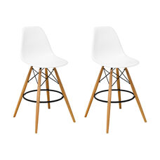 Paris Tower Barstool with Wood Legs and White Seat - Set of 2