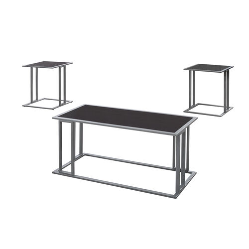 Our Minimalist Style Rectangular Coffee Table and Two Square End Tables - Three Piece Set - Cappuccino and Silver Metal is on sale now.