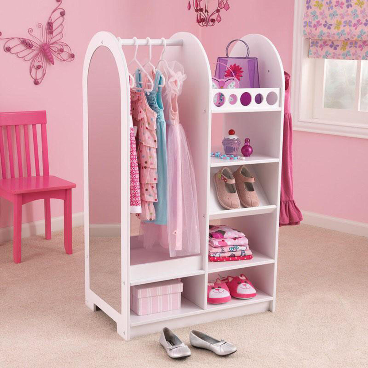 Our Kids Size Play Dress Up Fashion Station With Mirror And Storage Options White Is