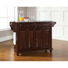 Solid Granite Top Kitchen Island with Cambridge Style Feet - Vintage Mahogany Finish