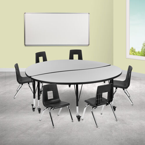 """Mobile 60"""" Circle Wave Collaborative Laminate Activity Table Set with 14"""" Student Stack Chairs, Grey/Black"""