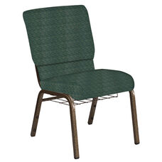 Embroidered 18.5''W Church Chair in Arches Forest Fabric with Book Rack - Gold Vein Frame