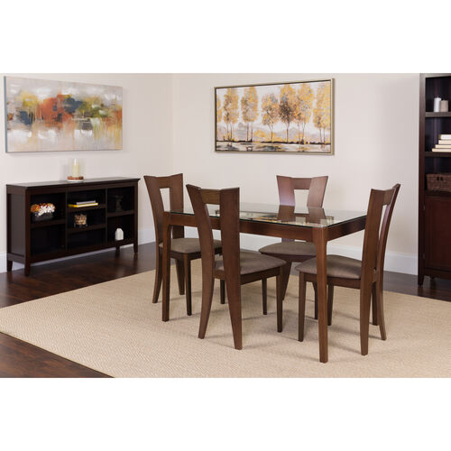 Our Livingston 5 Piece Espresso Wood Dining Table Set with Glass Top and Slotted Back Wood Dining Chairs - Padded Seats is on sale now.
