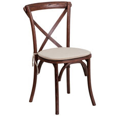 HERCULES Series Stackable Mahogany Wood Cross Back Chair with Cushion