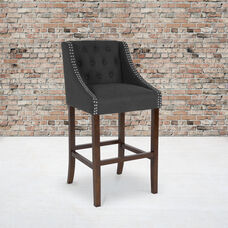 """Carmel Series 30"""" High Transitional Tufted Walnut Barstool with Accent Nail Trim in Charcoal Fabric"""