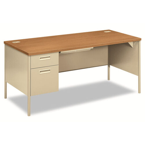 Our HON® Metro Classic Left Pedestal Desk - 66w x 30d - Harvest/Putty is on sale now.
