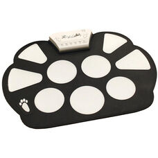 Black and White Electronic Roll-Up Drum Kit with Multiple Modes and Adjustable Sound Buttons - 10.75