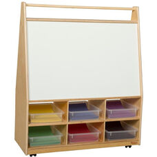 Wooden Book and Art Display Storage Unit with 6 Clear Plastic Storage Trays - 36