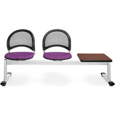 Moon 3-Beam Seating with 2 Plum Fabric Seats and 1 Table - Mahogany Finish